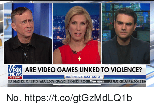 News, Video Games, and Games: ARE VIDEO GAMES LINKED TO VIOLENCE?  NEWS  7:38 PT  The INGRAHAM ANGLE  ULED THE KREMLIN LIKELY APPROVED LITVINENKO'S KILLING  pFOX NEWS  U.S. AND ISRAELI TROOPS C No. https://t.co/gtGzMdLQ1b