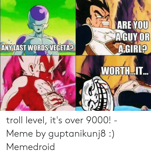 Over 9000 Meme: ARE YOU  A GUY OR  ANYLAST WORDS VEGETA?  WORTH..IT... troll level, it's over 9000! - Meme by guptanikunj8 :) Memedroid
