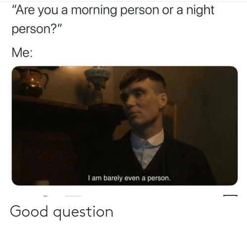 "morning: ""Are you a morning person or a night  person?""  Me:  I am barely  even a person. Good question"
