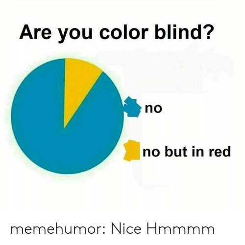 color blind: Are you color blind?  no  no but in red memehumor:  Nice  Hmmmm