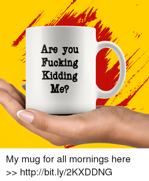 Fucking, Memes, and Http: Are you  Fucking  Kidding  Me? My mug for all mornings here >> http://bit.ly/2KXDDNG