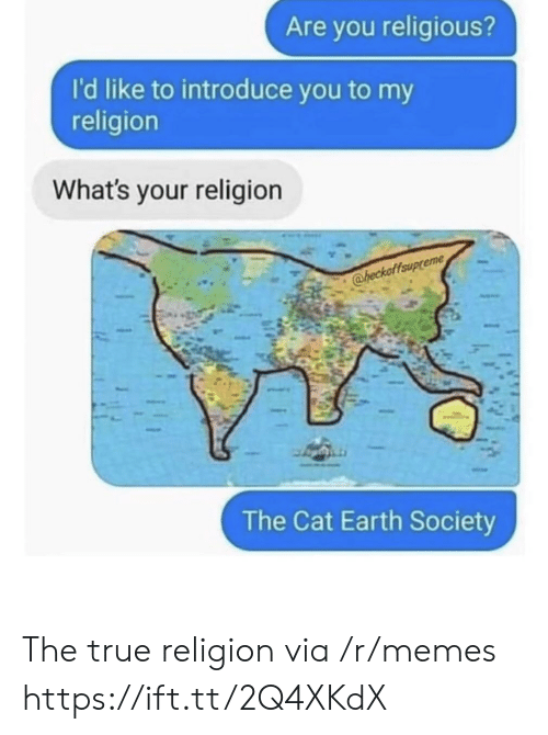 My Religion: Are you religious?  I'd like to introduce you to my  religion  What's your religion  @heckaffaup  The Cat Earth Society The true religion via /r/memes https://ift.tt/2Q4XKdX