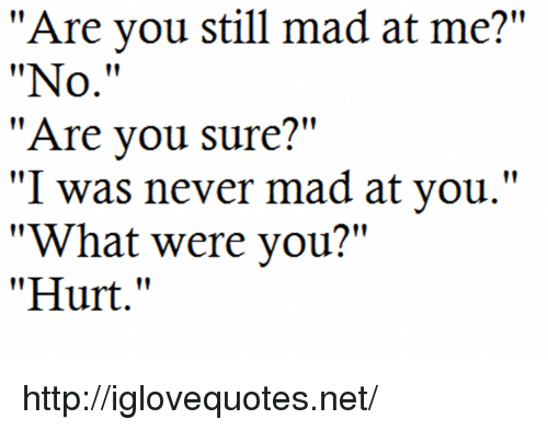 """you still mad: """"Are you still mad at me?""""  """"No.""""  """"Are vou sure?""""  """"I was never mad at you.""""  """"What were you?""""  """"Hurt."""" http://iglovequotes.net/"""