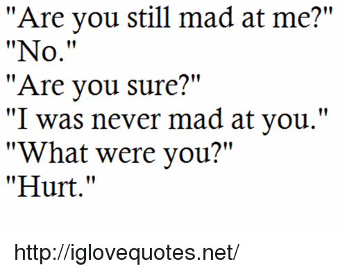"Still Mad: ""Are you still mad at me?""  ""No.""  ""Are vou sure?""  ""I was never mad at you.""  ""What were you?""  ""Hurt."" http://iglovequotes.net/"