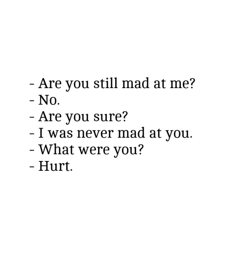 Mad, Never, and You: Are you still mad at me?  No.  Are you sure?  I was never mad at vou.  What were you?  Hurt.