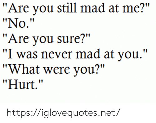 "Still Mad: ""Are you still mad at me?""  ""No.""  ""Are you sure?""  ""I was never mad at you."".  ""What were you?""  ""Hurt."" https://iglovequotes.net/"