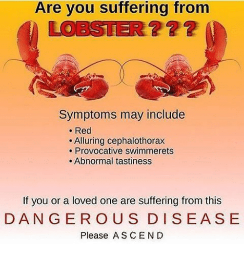 provocative: Are you suffering from  LOBSTER??2  ? 22  Symptoms may include  . Red  Alluring cephalothorax  . Provocative swimmerets  . Abnormal tastiness  If you or a loved one are suffering from this  DANGER OUS DISEASE  Please ASCEN D