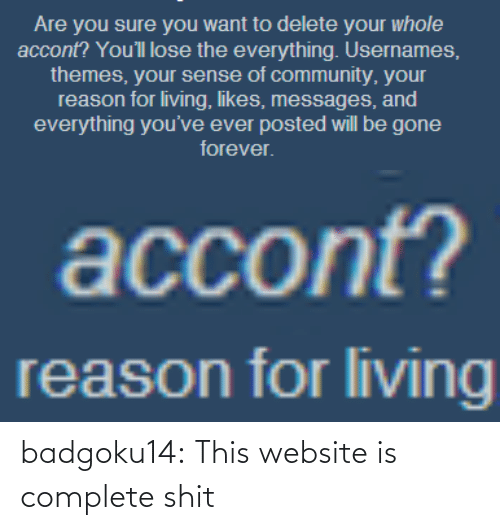 Usernames: Are you sure you want to delete your whole  accont? You'll lose the everything. Usernames,  themes, your sense of community, your  reason for living, likes, messages, and  everything you've ever posted will be gone  forever   accont?   reason for living badgoku14:  This website is complete shit