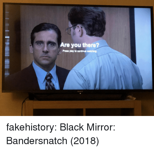 Sony, Tumblr, and Black: Are you there?  Prees play to continue watching.  SONY fakehistory: Black Mirror: Bandersnatch (2018)