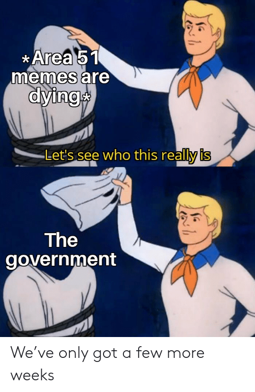 Lets See: Area 51  memes are  dying  Let's see who this really is  The  government We've only got a few more weeks