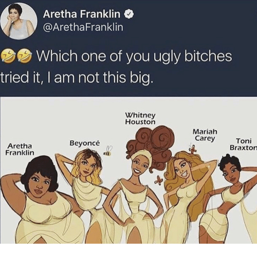 whitney houston: Aretha Franklin  @ArethaFranklin  Which one of you ugly bitches  7  tried it, I am not this big.  Whitney  Houston  Mariah  Carey  Aretha  Franklin  Beyoncé  Toni  Braxton