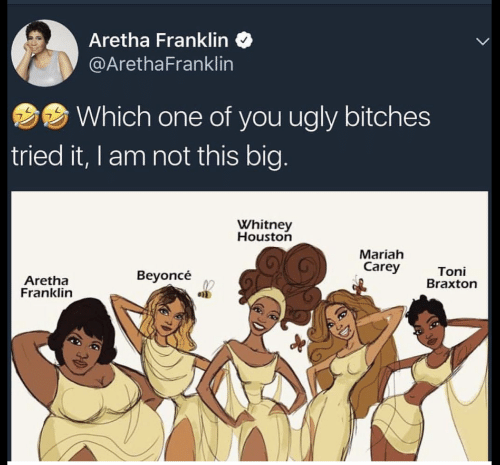 Beyonce, Mariah Carey, and Ugly: Aretha Franklin  @ArethaFranklin  Which one of you ugly bitches  tried it, I am not this big  Whitney  Houston  Mariah  Carey  Aretha  Franklin  Beyoncé  Toni  Braxton  en