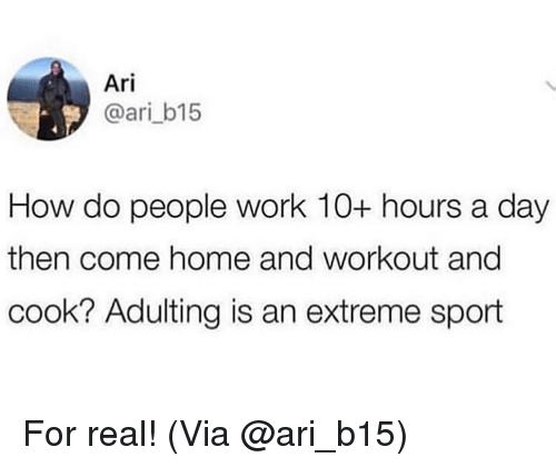 Memes, Work, and Home: Ari  @ari_b15  How do people work 10+ hours a day  then come home and workout ang  cook? Adulting is an extreme sport For real! (Via @ari_b15)