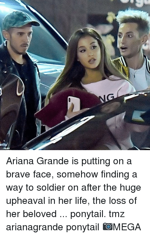 arianagrande: Ariana Grande is putting on a brave face, somehow finding a way to soldier on after the huge upheaval in her life, the loss of her beloved ... ponytail. tmz arianagrande ponytail 📷MEGA