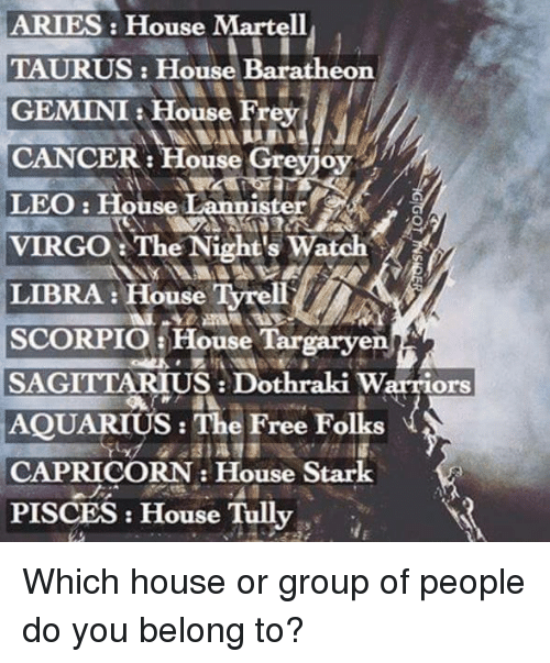 Dothraki: ARIES House Martell  TAURUS: House Baratheon  GEMINI House Frey  CANCER: House Greyjoy  LEO: House Lannister  VIRGO The Night's Watch  LIBRA: House Tyrell  SCORPIO a House Targaryen  SAGITTARIUS Dothraki Warriors  AQUARIUS: The Free Folks  CAPRICORN House Stark  PISCES House Tully Which house or group of people do you belong to?