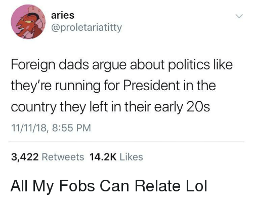 Arguing, Lol, and Politics: aries  @proletariatitty  Foreign dads argue about politics like  they're running for President in the  country they left in their early 20s  11/11/18, 8:55 PM  3,422 Retweets 14.2K Likes All My Fobs Can Relate Lol