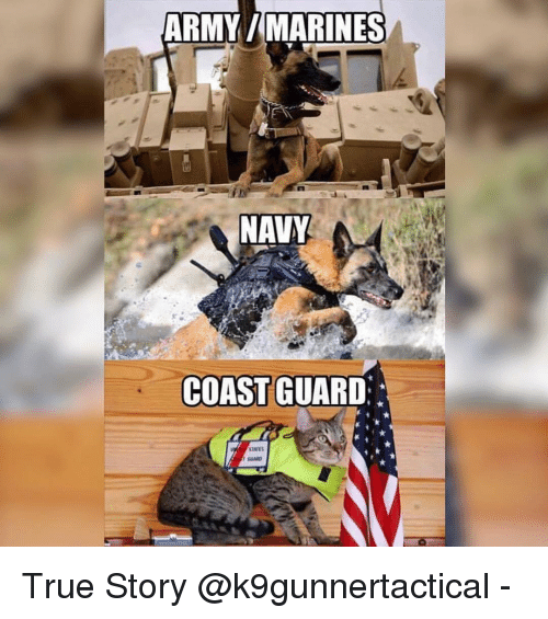 Memes, True, and Army: ARMY/MARINES  NAVY  COAST GUARD  GARD True Story @k9gunnertactical -
