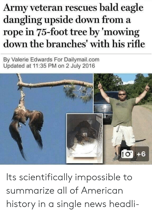 News, Army, and American: Army veteran rescues bald eagle  dangling upside down from a  rope in 75-foot tree by 'mowing  down the branches' with his rifle  By Valerie Edwards For Dailymail.com  Updated at 11:35 PM on 2 July 2016  I O  +6 Its scientifically impossible to summarize all of American history in a single news headli-