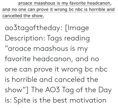 "Target, Tumblr, and Best: aroace maashous is my favorite headcanon,  and no one can prove it wrong bc nbc is horrible and  cancelled the show  OSS ao3tagoftheday:  [Image Description: Tags reading ""aroace maashous is my favorite headcanon, and no one can prove it wrong bc nbc is horrible and canceled the show""]  The AO3 Tag of the Day is: Spite is the best motivation"