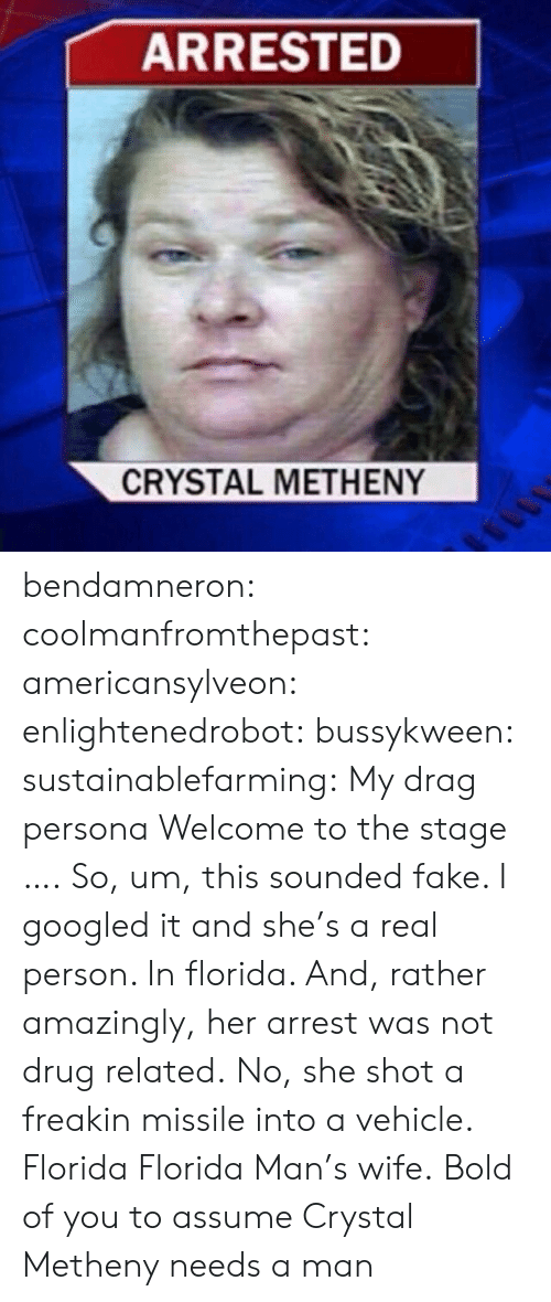 Staging: ARRESTED  CRYSTAL METHENY bendamneron:  coolmanfromthepast:  americansylveon:   enlightenedrobot:  bussykween:  sustainablefarming: My drag persona Welcome to the stage ….  So, um, this sounded fake. I googled it and she's a real person. In florida. And, rather amazingly, her arrest was not drug related. No, she shot a freakin missile into a vehicle.   Florida   Florida Man's wife.   Bold of you to assume Crystal Metheny needs a man