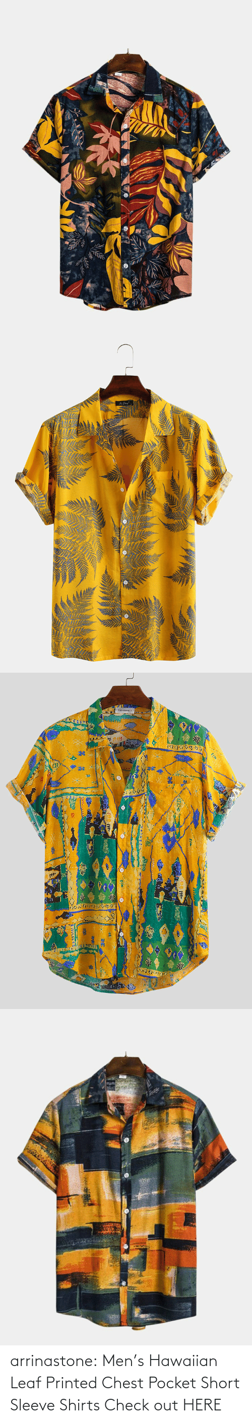 Mens: arrinastone: Men's Hawaiian Leaf Printed Chest Pocket Short Sleeve Shirts  Check out HERE