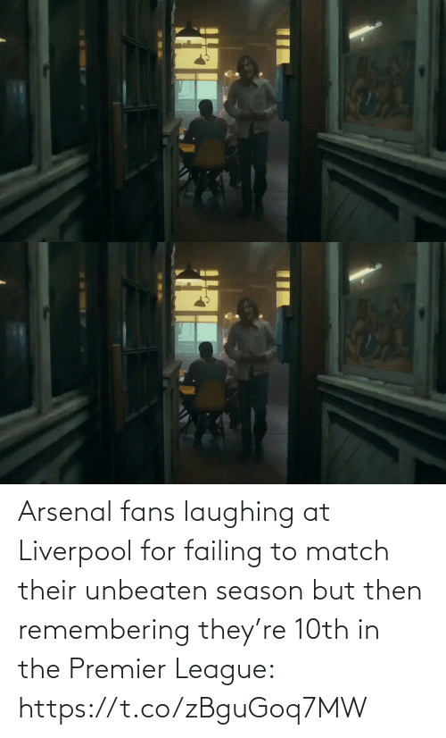 Premier League: Arsenal fans laughing at Liverpool for failing to match their unbeaten season but then remembering they're 10th in the Premier League: https://t.co/zBguGoq7MW