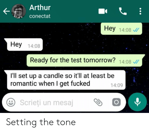 Arthurs: Arthur  conectat  Hey 14:08  Hey 14:08  Ready for the test tomorrow? 14:08  I'll set up a candle so it'll at least be  romantic when I get fucked  14:09  Scrieti un mesajOO Setting the tone