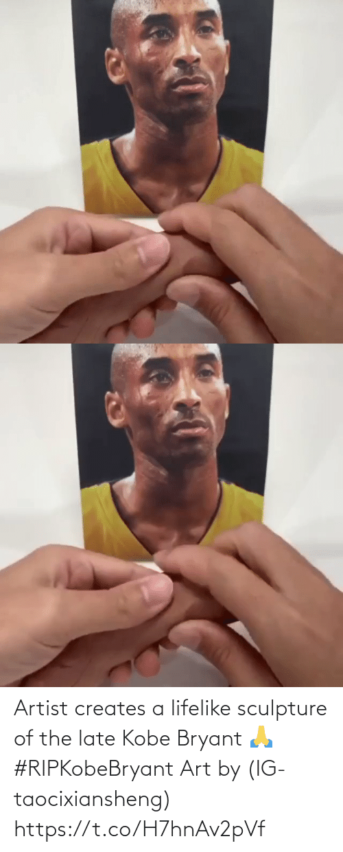 Sculpture: Artist creates a lifelike sculpture of the late Kobe Bryant 🙏 #RIPKobeBryant Art by (IG-taocixiansheng) https://t.co/H7hnAv2pVf