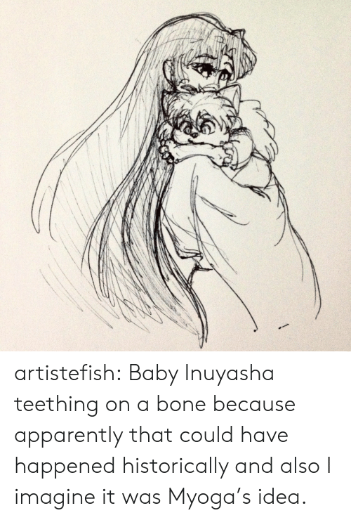 Teething: artistefish:  Baby Inuyasha teething on a bone because apparently that could have happened historically and also I imagine it was Myoga's idea.
