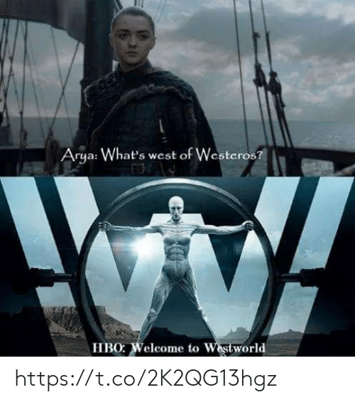 Hbo, Arya, and Westeros: Arya: What's west of Westeros?  HBO: Weleome to Westworld https://t.co/2K2QG13hgz