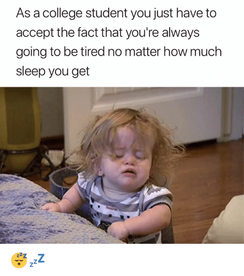 College, Sleep, and How: As a college student you just have to  accept the fact that you're always  going to be tired no matter how much  sleep you get 😴💤