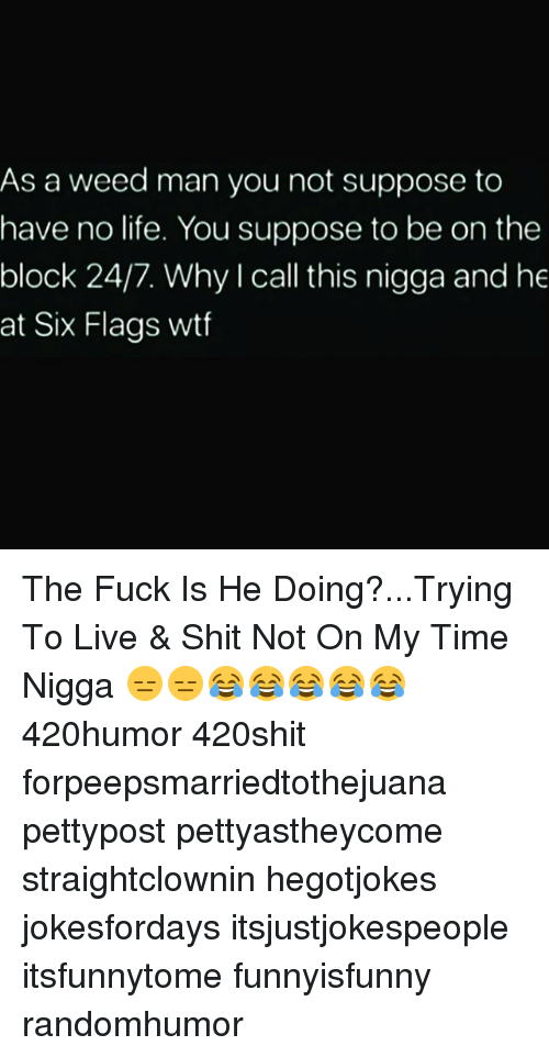 No Lifes: As a weed man you not suppose to  have no life. You suppose to be on the  block 24/7. Why I call this nigga and he  at Six Flags wtf The Fuck Is He Doing?...Trying To Live & Shit Not On My Time Nigga 😑😑😂😂😂😂😂 420humor 420shit forpeepsmarriedtothejuana pettypost pettyastheycome straightclownin hegotjokes jokesfordays itsjustjokespeople itsfunnytome funnyisfunny randomhumor