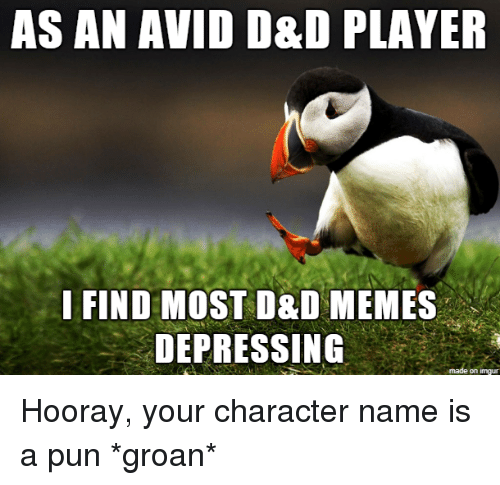 hooray: AS AN AVID D&D PLAYER  I FIND MOST D&D MEMES  DEPRESSING  on imqu Hooray, your character name is a pun *groan*