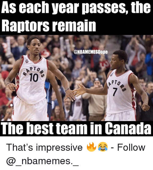 Memes, Best, and Canada: AS each year pasSeS, the  Raptors remain  @NBAMEMESDope  10  PTO  The best team in Canada That's impressive 🔥😂 - Follow @_nbamemes._