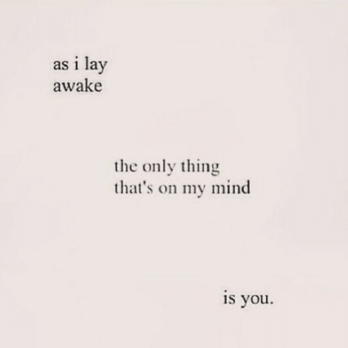 Mind, Awake, and Thing: as i lay  awake  the only thing  that's on my mind  is you