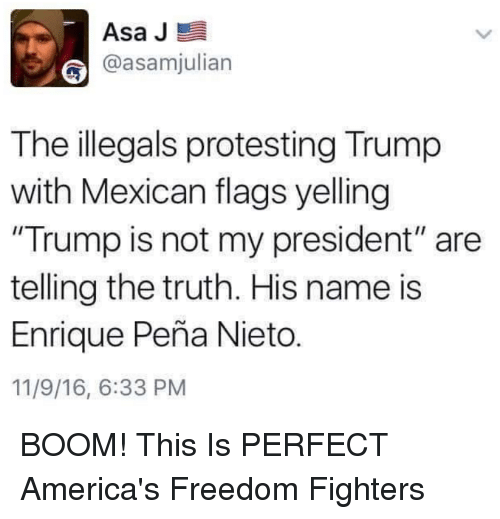 "Enrique Peña Nieto: Asa J  E  @asamjulian  The illegals protesting Trump  with Mexican flags yelling  ""Trump is not my president"" are  telling the truth. His name is  Enrique Pena Nieto  11/9/16, 6:33 PM BOOM! This Is PERFECT  America's Freedom Fighters"