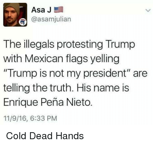 "Enrique Peña Nieto: Asa J  E  @asamjulian  The illegals protesting Trump  with Mexican flags yelling  ""Trump is not my president"" are  telling the truth. His name is  Enrique Pena Nieto.  11/9/16, 6:33 PM Cold Dead Hands"