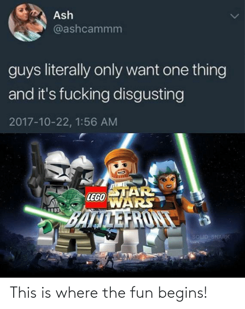 solid: Ash  @ashcammm  guys literally only want one thing  and it's fucking disgusting  2017-10-22, 1:56 AM  STAR  LEGO  WARS  BALTLEFRONT  SOLID SNARK This is where the fun begins!