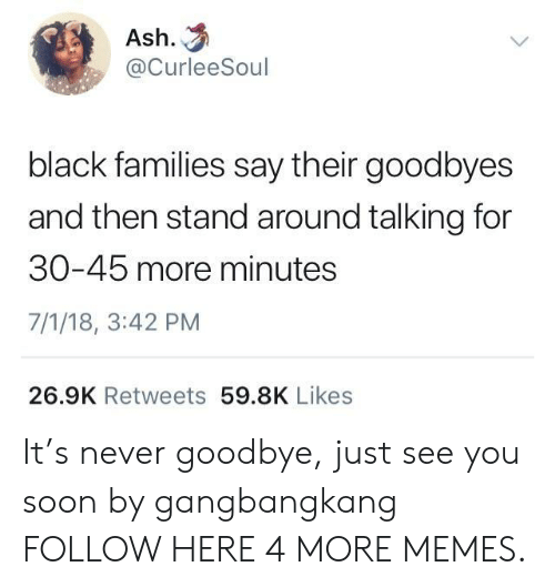 Ash, Dank, and Memes: Ash.  @CurleeSoul  black families say their goodbyes  and then stand around talking for  30-45 more minutes  7/1/18, 3:42 PM  26.9K Retweets 59.8K Likes It's never goodbye, just see you soon by gangbangkang FOLLOW HERE 4 MORE MEMES.