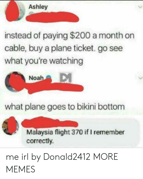Malaysia: Ashley  instead of paying $200 a month on  cable, buy a plane ticket. go see  what you're watching  Noah  what plane goes to bikini bottom  Malaysia flight 370 if I remember  correctly. me irl by Donald2412 MORE MEMES
