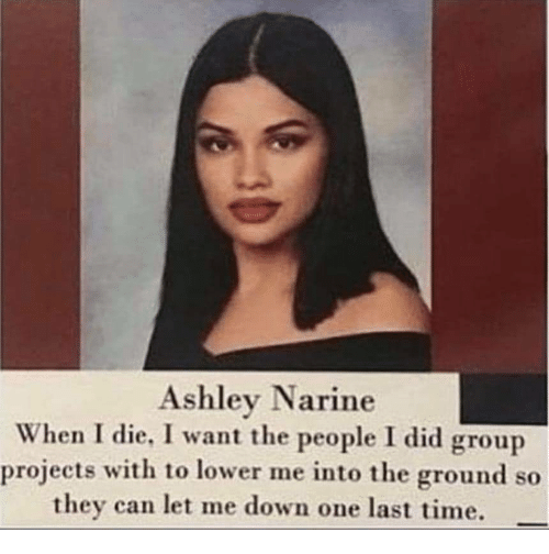 Time, Can, and One: Ashley Narine  When I die, I want the people I did group  projects with to lower me into the ground so  they can let me down one last time.