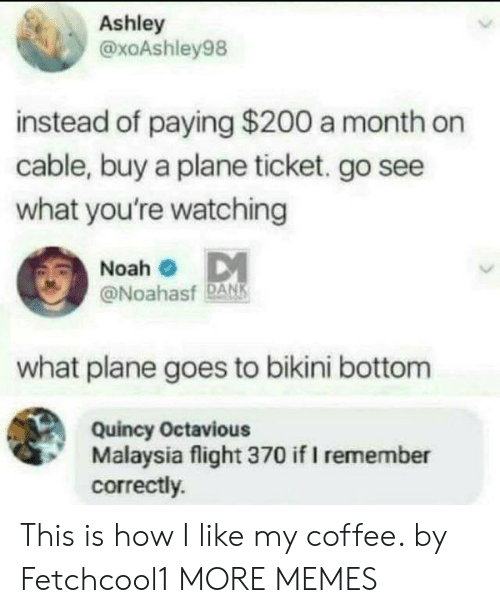 Malaysia: Ashley  @xoAshley98  instead of paying $200 a month on  cable, buy a plane ticket. go see  what you're watching  Noah  @Noahasf DANK  what plane goes to bikini bottom  Quincy Octavious  Malaysia flight 370 if I remember  correctly. This is how I like my coffee. by Fetchcool1 MORE MEMES
