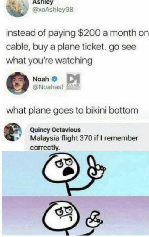 Noah: Ashley  @xoAshley98  instead of paying $200 a month on  cable, buy a plane ticket. go see  what you're watching  Noah o DM  @Noahasf DANS  what plane goes to bikini bottom  Quincy Octavious  Malaysia flight 370 if I remember  correctly.