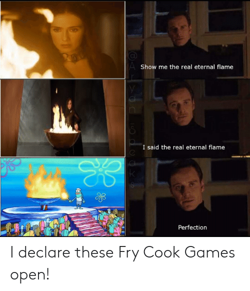 fry: AShow me the real eternal flame  I said the real eternal flame  Perfection I declare these Fry Cook Games open!