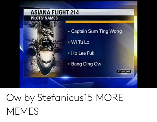 ting: ASIANA FLIGHT 214  PILOTS' NAMES  Captain Sum Ting Wong  .WiTuLo  Ho Lee Fuk  Bang Ding Ow Ow by Stefanicus15 MORE MEMES