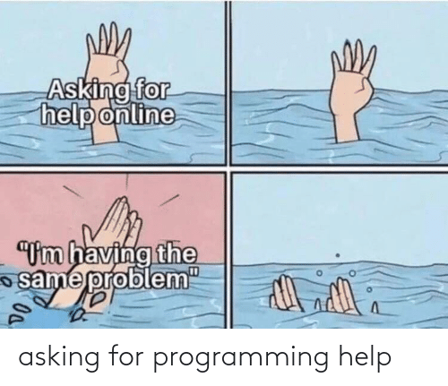 "Help: Asking for  help online  ""Um having the  same probl  em""  D0. asking for programming help"