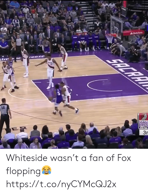Memes, 🤖, and Fox: AStatefarm  reeze  58  ER  KING  3r Whiteside wasn't a fan of Fox flopping😂 https://t.co/nyCYMcQJ2x
