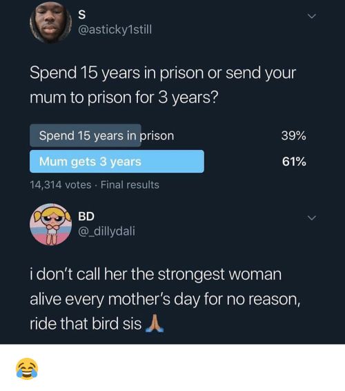 Alive, Memes, and Mother's Day: @asticky1still  Spend 15 years in prison or send your  mum to prison for 3 years?  Spend 15 years in prison  39%  Mum gets 3 years  61%  14,314 votes Final results  @_dillydai  i don't call her the strongest woman  alive every mother's day for no reason,  ride that bird sis 😂