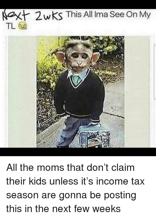 Irmã: at  2wKS This All Irma See On My All the moms that don't claim their kids unless it's income tax season are gonna be posting this in the next few weeks