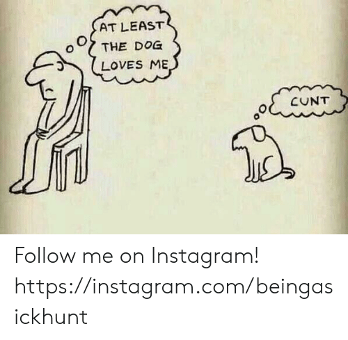 Instagram, Memes, and Cunt: AT LEAST  THE DOG  LOVES ME  CUNT Follow me on Instagram! https://instagram.com/beingasickhunt